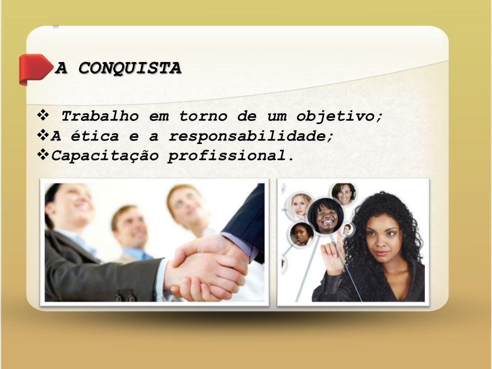 A CONQUISTA  Trabalho em torno de um objetivo;  A ética e a responsabilidade;  Capacitação profissional.