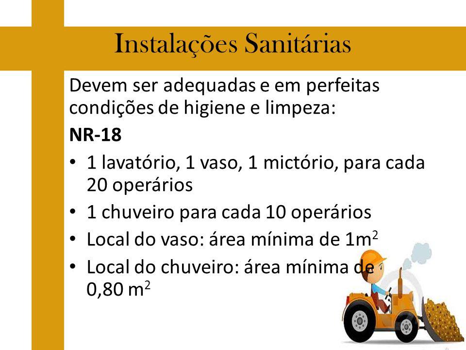 Instalações Sanitárias Devem ser adequadas e em perfeitas condições de higiene e limpeza: NR-18 1 lavatório, 1 vaso, 1 mictório, para cada 20 operário