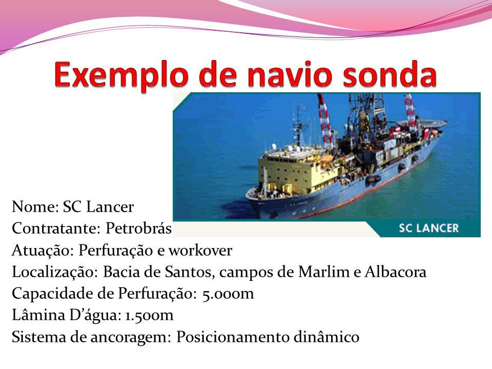 Nome: SC Lancer Contratante: Petrobrás Atuação: Perfuração e workover Localização: Bacia de Santos, campos de Marlim e Albacora Capacidade de Perfuraç