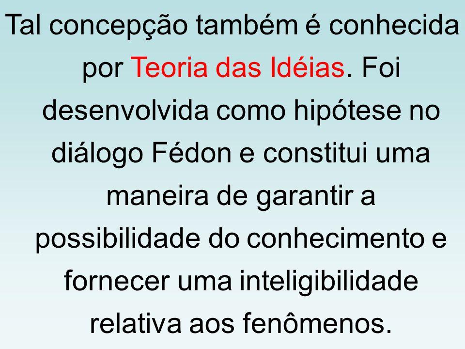 Tal concepção também é conhecida por Teoria das Idéias. Foi desenvolvida como hipótese no diálogo Fédon e constitui uma maneira de garantir a possibil