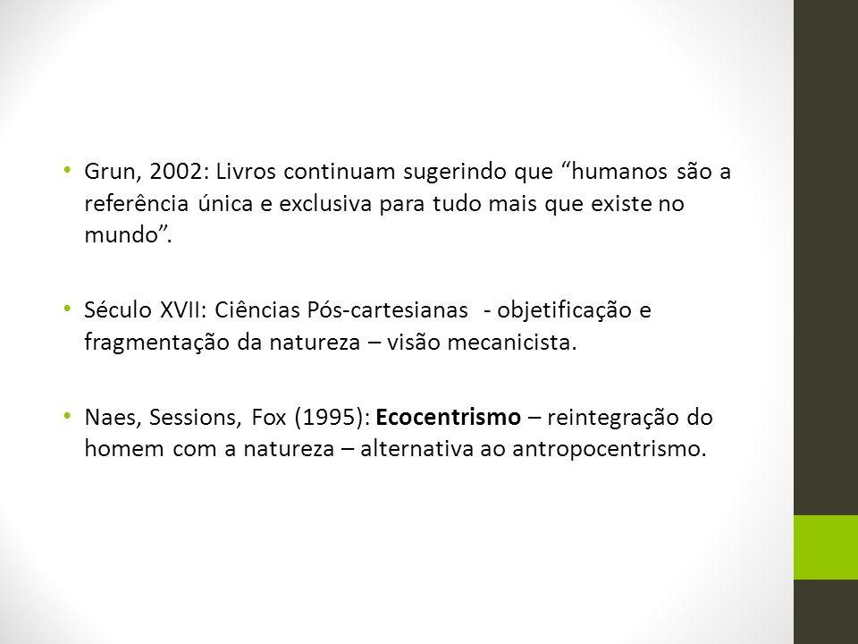 """Grun, 2002: Livros continuam sugerindo que """"humanos são a referência única e exclusiva para tudo mais que existe no mundo"""". Século XVII: Ciências Pós-"""