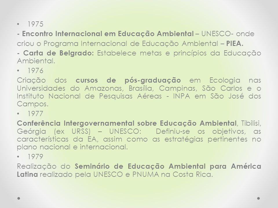 1975 - Encontro Internacional em Educação Ambiental – UNESCO- onde criou o Programa Internacional de Educação Ambiental – PIEA. - Carta de Belgrado: E