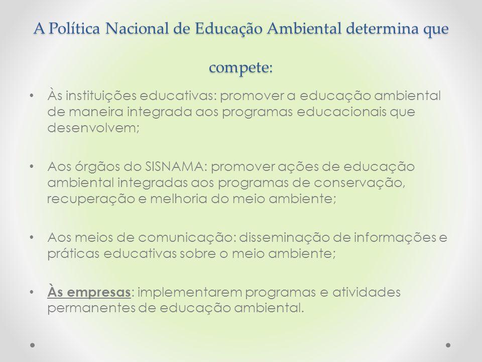 A Política Nacional de Educação Ambiental determina que compete: Às instituições educativas: promover a educação ambiental de maneira integrada aos pr