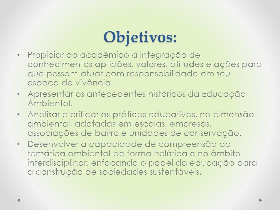 Objetivos: Propiciar ao acadêmico a integração de conhecimentos aptidões, valores, atitudes e ações para que possam atuar com responsabilidade em seu