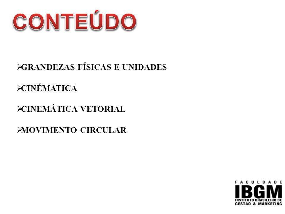  GRANDEZAS FÍSICAS E UNIDADES  CINÉMATICA  CINEMÁTICA VETORIAL  MOVIMENTO CIRCULAR