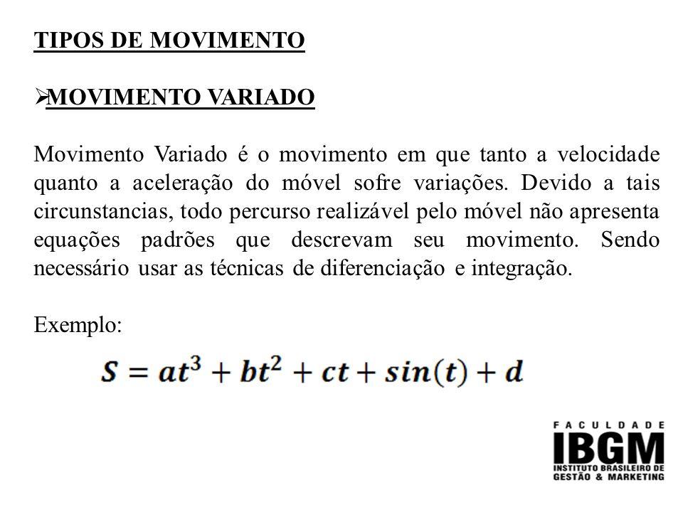 TIPOS DE MOVIMENTO  MOVIMENTO VARIADO Movimento Variado é o movimento em que tanto a velocidade quanto a aceleração do móvel sofre variações.