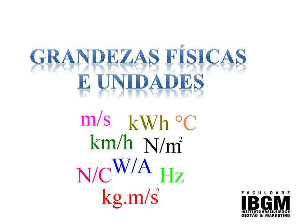 GRANDEZA FÍSICA: É um conceito relacionado a possibilidade de medida como comprimento, tempo, massa, velocidade, temperatura, dentre outras.