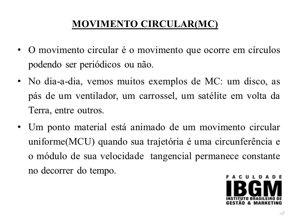 50 MOVIMENTO CIRCULAR(MC) O movimento circular é o movimento que ocorre em círculos podendo ser periódicos ou não.
