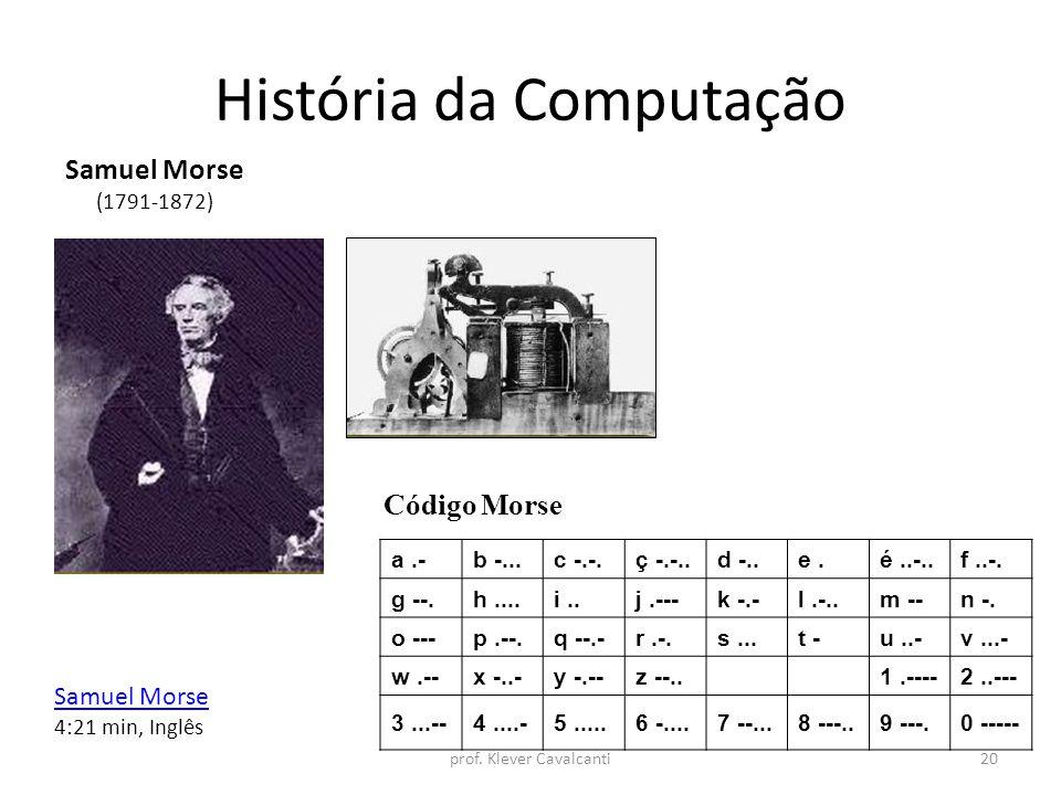 História da Computação Código Morse Samuel Morse (1791-1872) a.-b -...c -.-.ç -.-..d -..e.é..-..f..-. g --.h....i..j.---k -.-l.-..m --n -. o ---p.--.q