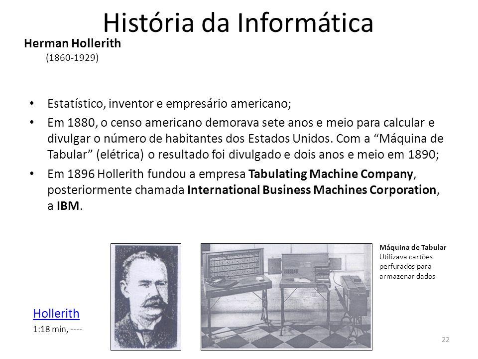 História da Informática Estatístico, inventor e empresário americano; Em 1880, o censo americano demorava sete anos e meio para calcular e divulgar o