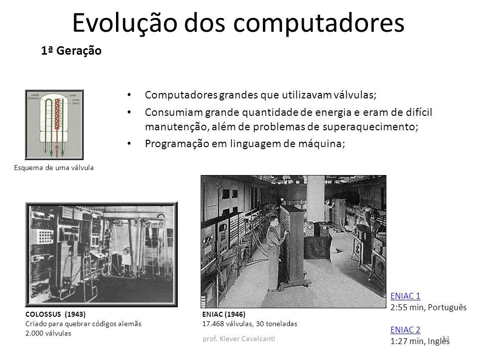 Evolução dos computadores Computadores grandes que utilizavam válvulas; Consumiam grande quantidade de energia e eram de difícil manutenção, além de p