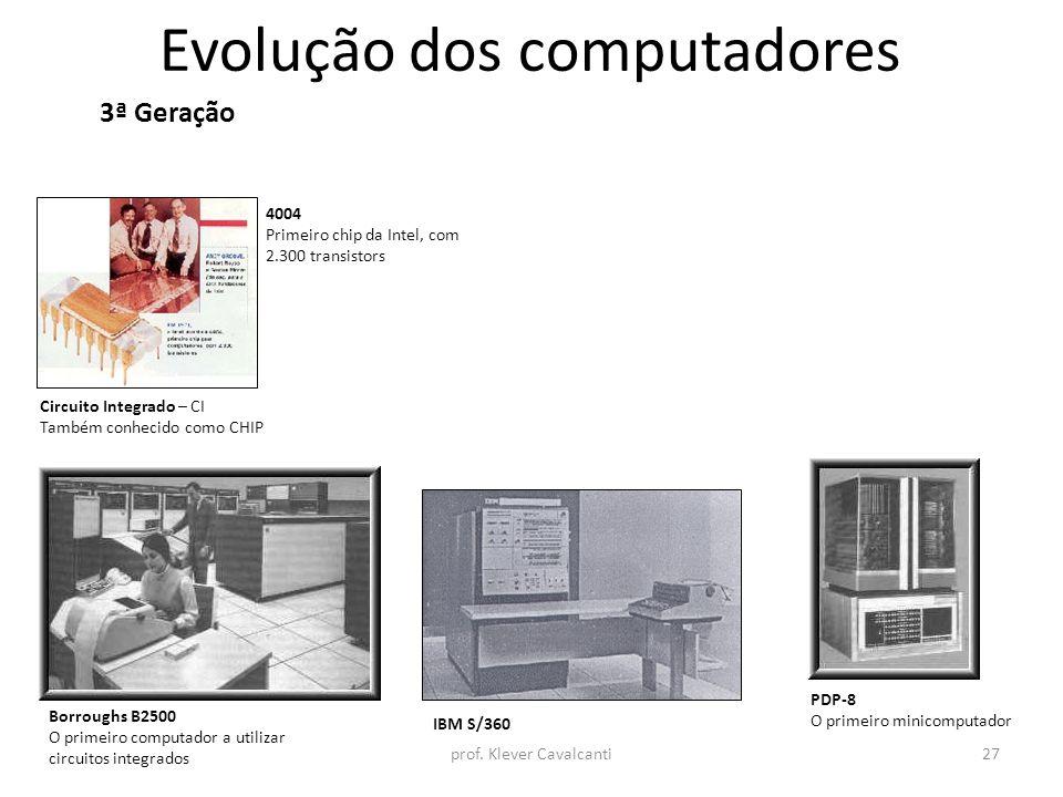 Evolução dos computadores 3ª Geração Circuito Integrado – CI Também conhecido como CHIP Borroughs B2500 O primeiro computador a utilizar circuitos int