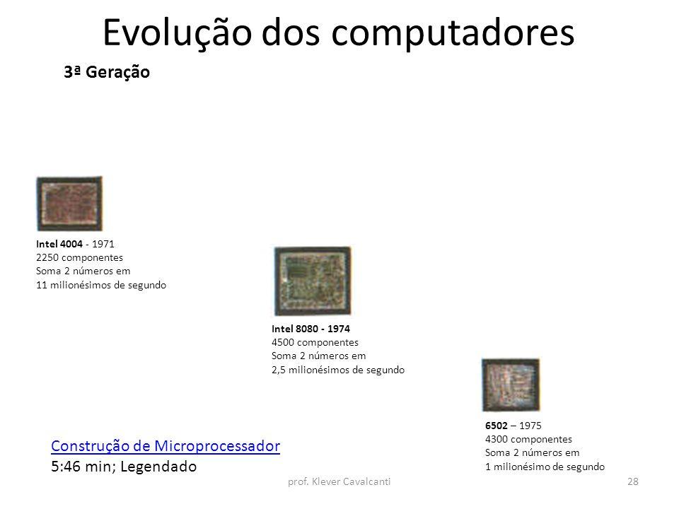 Evolução dos computadores 3ª Geração Intel 4004 - 1971 2250 componentes Soma 2 números em 11 milionésimos de segundo Intel 8080 - 1974 4500 componente