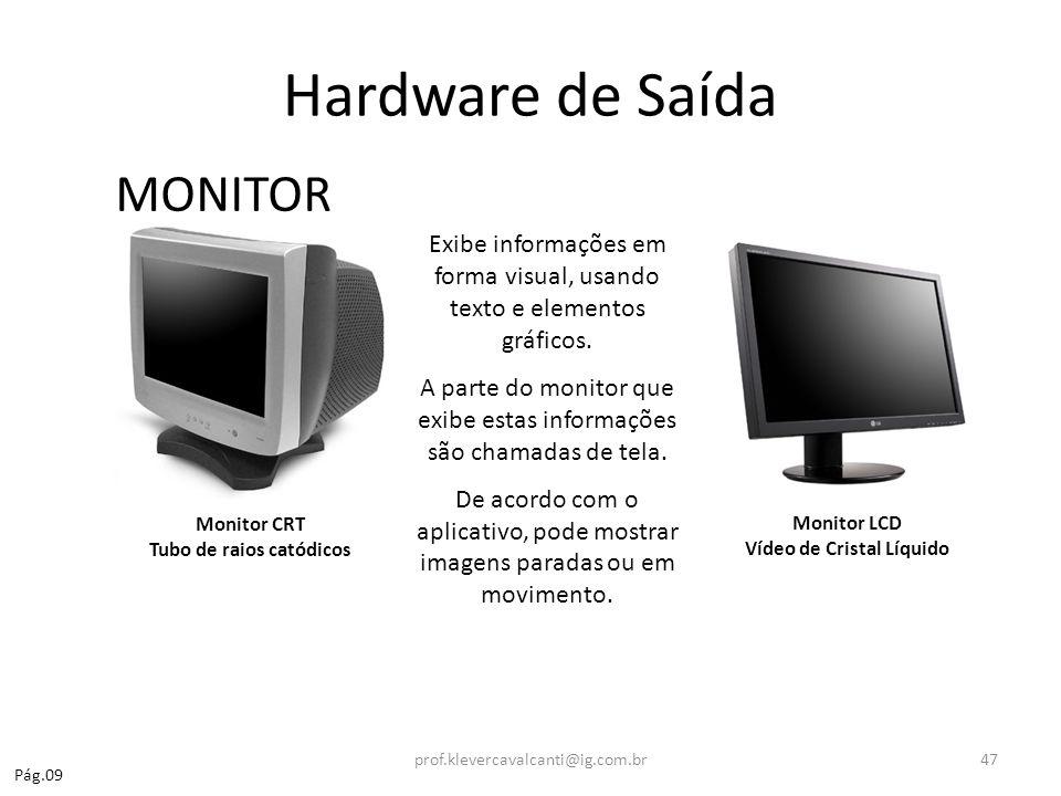 Hardware de Saída MONITOR Monitor LCD Vídeo de Cristal Líquido Monitor CRT Tubo de raios catódicos Exibe informações em forma visual, usando texto e e