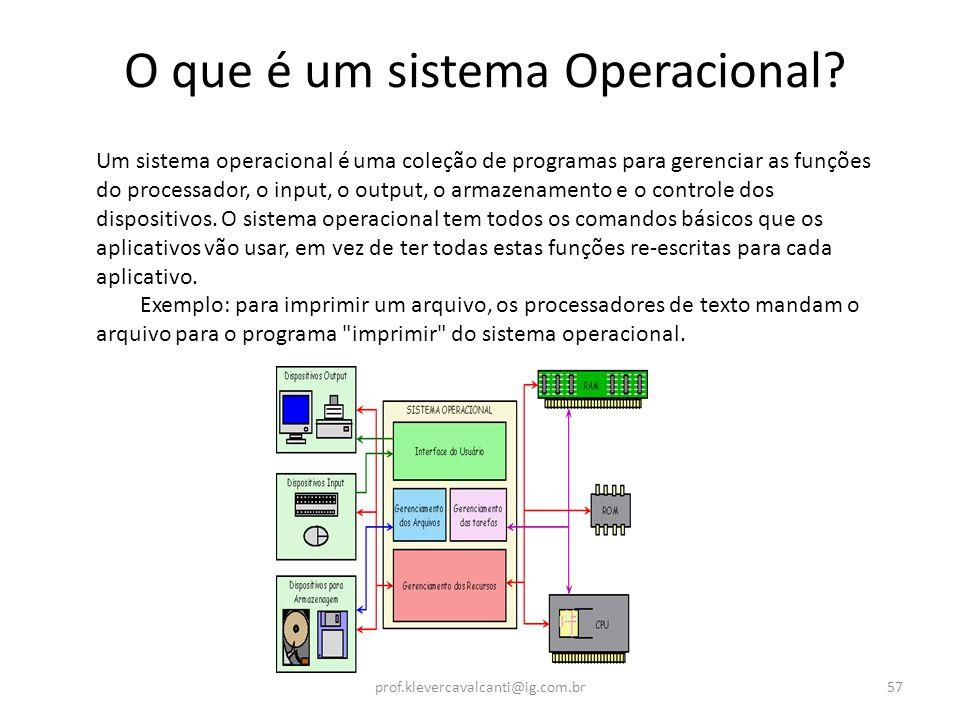 O que é um sistema Operacional? Um sistema operacional é uma coleção de programas para gerenciar as funções do processador, o input, o output, o armaz