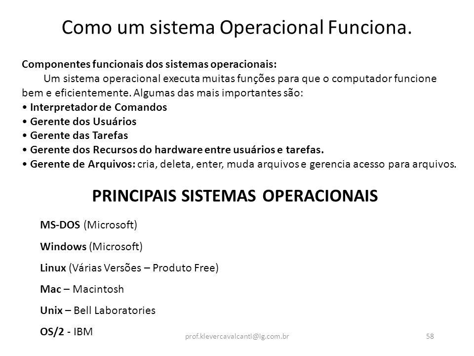 Como um sistema Operacional Funciona. Componentes funcionais dos sistemas operacionais: Um sistema operacional executa muitas funções para que o compu