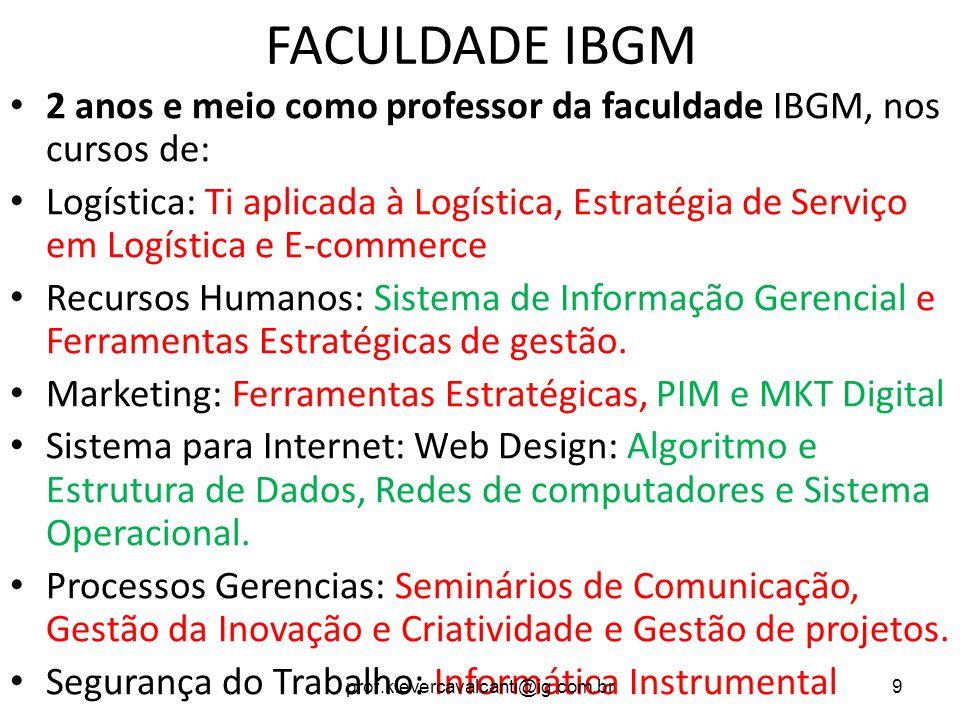 FACULDADE IBGM 2 anos e meio como professor da faculdade IBGM, nos cursos de: Logística: Ti aplicada à Logística, Estratégia de Serviço em Logística e