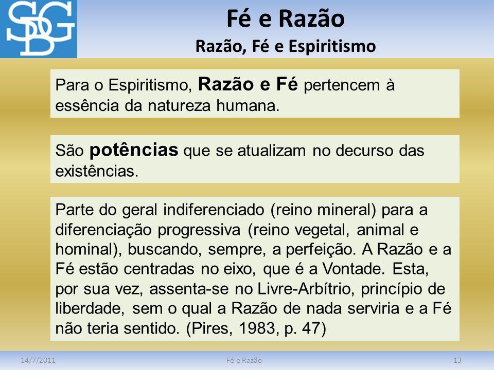 Fé e Razão Razão, Fé e Espiritismo 14/7/2011Fé e Razão13 Razão e Fé Para o Espiritismo, Razão e Fé pertencem à essência da natureza humana. potências