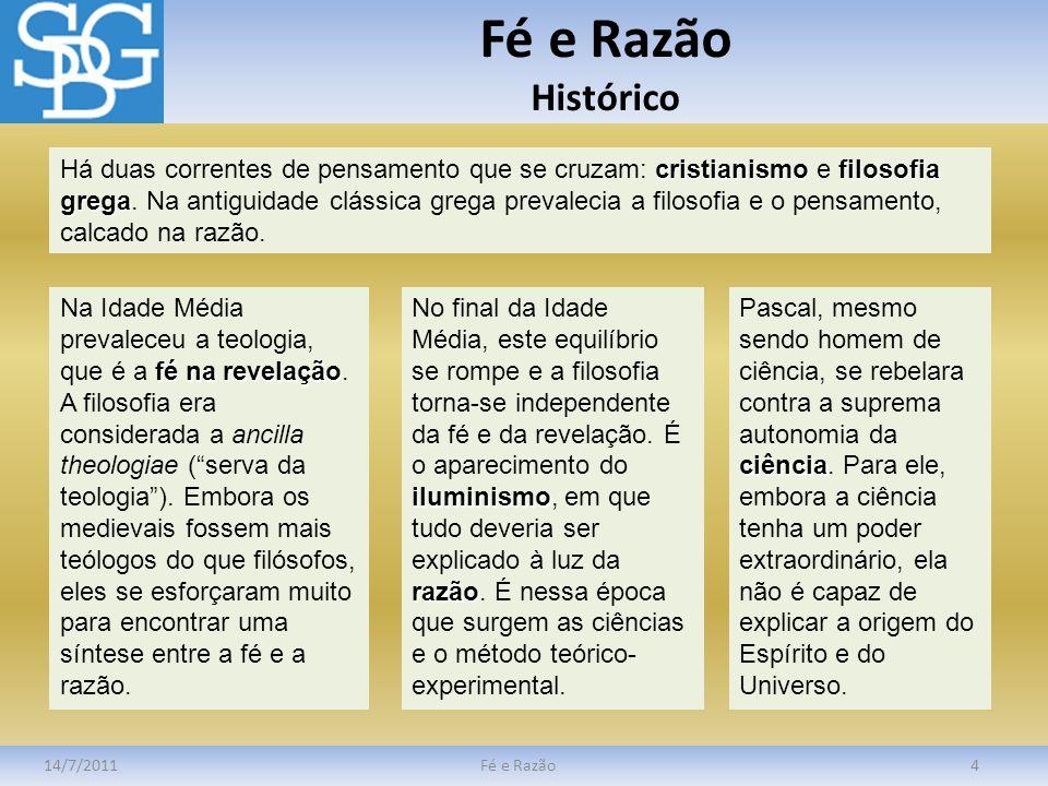 Fé e Razão Fé Religiosa 14/7/2011Fé e Razão5 Fé religiosa dogmas Fé religiosa é a crença nos dogmas das diversas religiões.