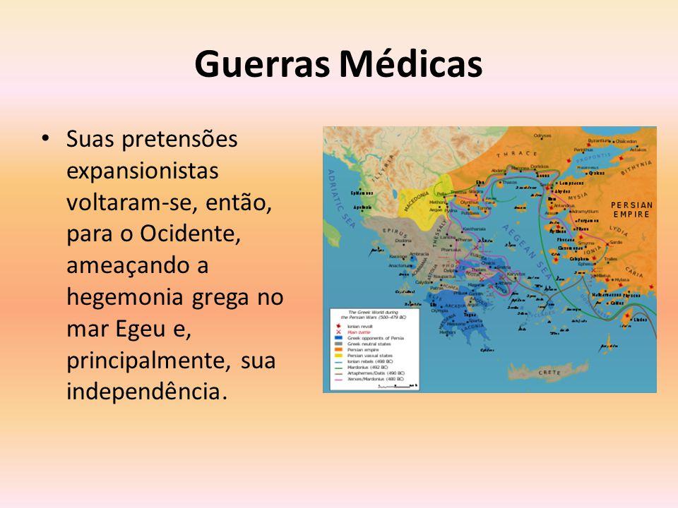Primeira Guerra Médica Sob o comando de Dario I, os persas conquistaram algumas colônias gregas na Ásia Menor, avançando a partir daí em direção aos Balcãs.