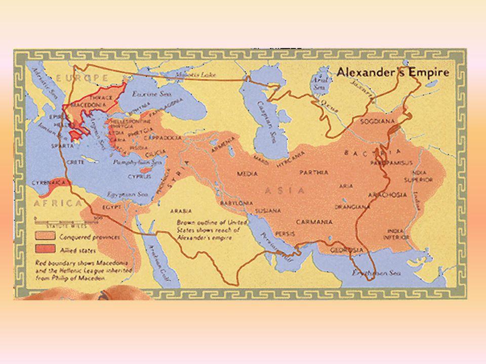 Divisão A morte precoce de Alexandre, em 323 a.C., levou à divisão do império entre seus sucessores, originando assim os reinos helenísticos (Ptolomaico, Selêucida e Antígona), os quais não resistiram ao expansionismo romano do século I a.C.