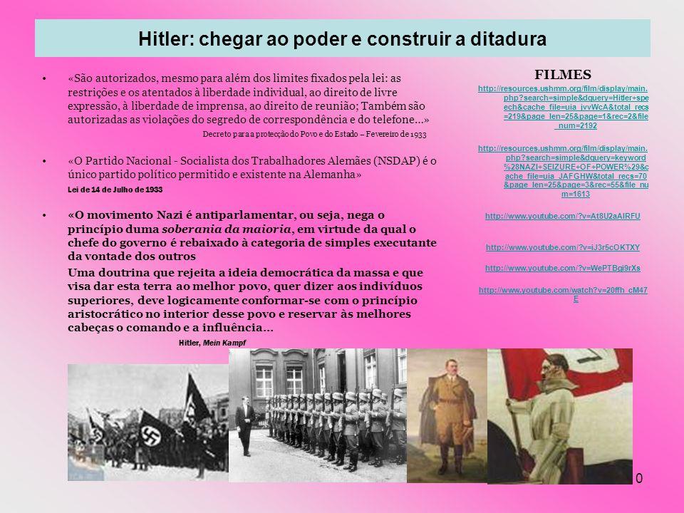 10 Hitler: chegar ao poder e construir a ditadura «São autorizados, mesmo para além dos limites fixados pela lei: as restrições e os atentados à liber