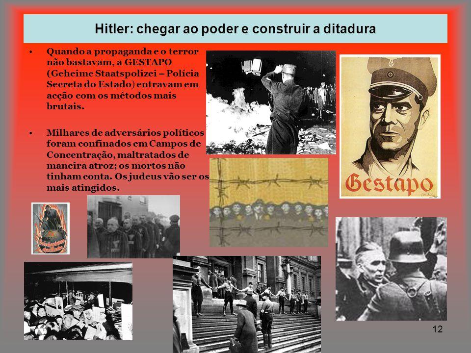 12 Hitler: chegar ao poder e construir a ditadura Quando a propaganda e o terror não bastavam, a GESTAPO (Geheime Staatspolizei – Polícia Secreta do E
