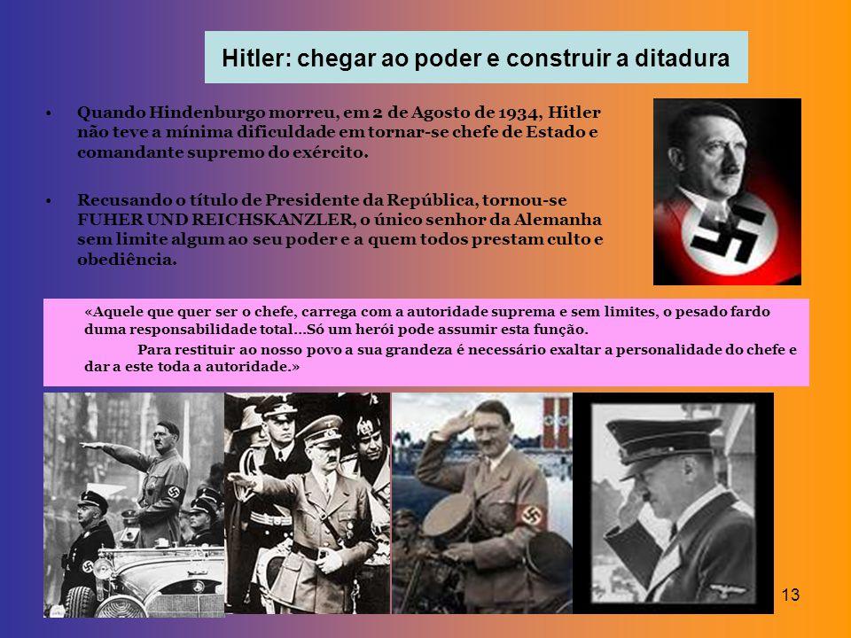 13 Hitler: chegar ao poder e construir a ditadura Quando Hindenburgo morreu, em 2 de Agosto de 1934, Hitler não teve a mínima dificuldade em tornar-se