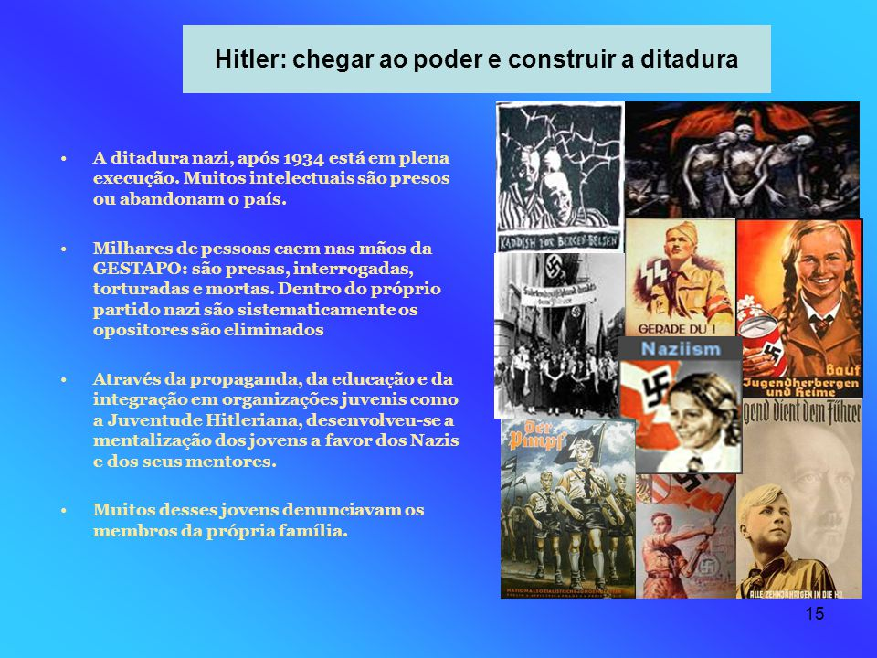 15 Hitler: chegar ao poder e construir a ditadura A ditadura nazi, após 1934 está em plena execução. Muitos intelectuais são presos ou abandonam o paí