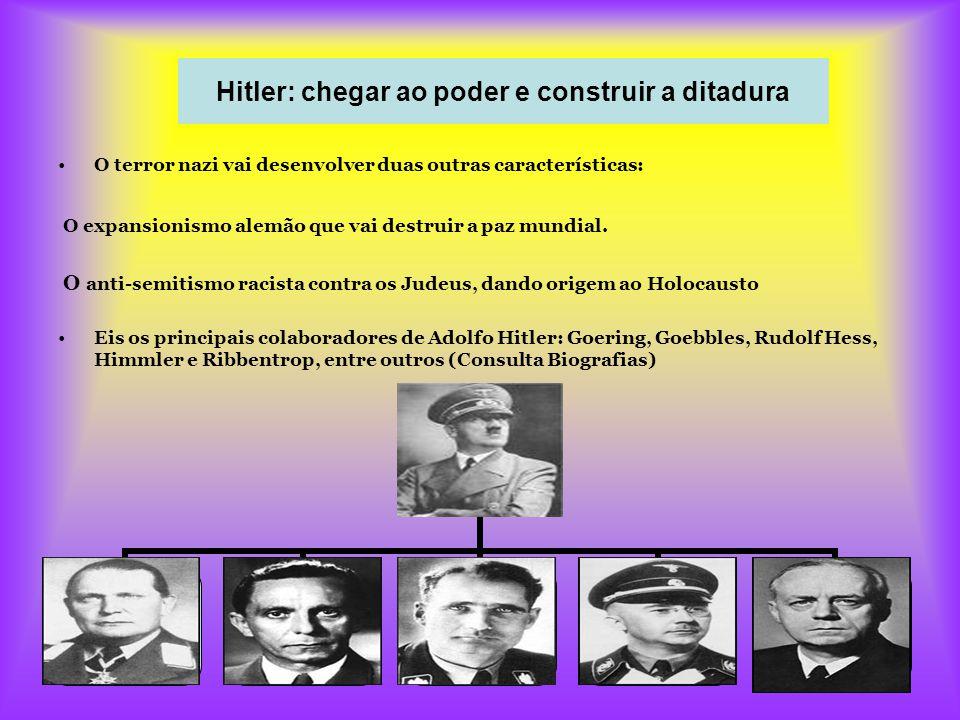 16 Hitler: chegar ao poder e construir a ditadura O terror nazi vai desenvolver duas outras características: O expansionismo alemão que vai destruir a