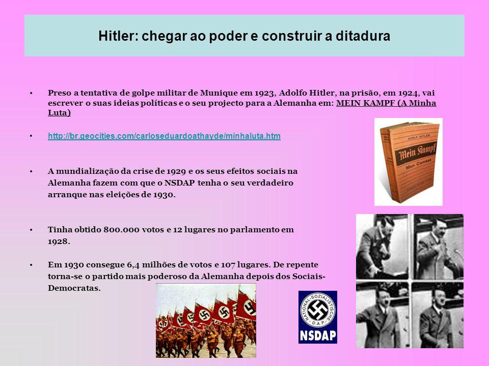 3 Preso a tentativa de golpe militar de Munique em 1923, Adolfo Hitler, na prisão, em 1924, vai escrever o suas ideias políticas e o seu projecto para