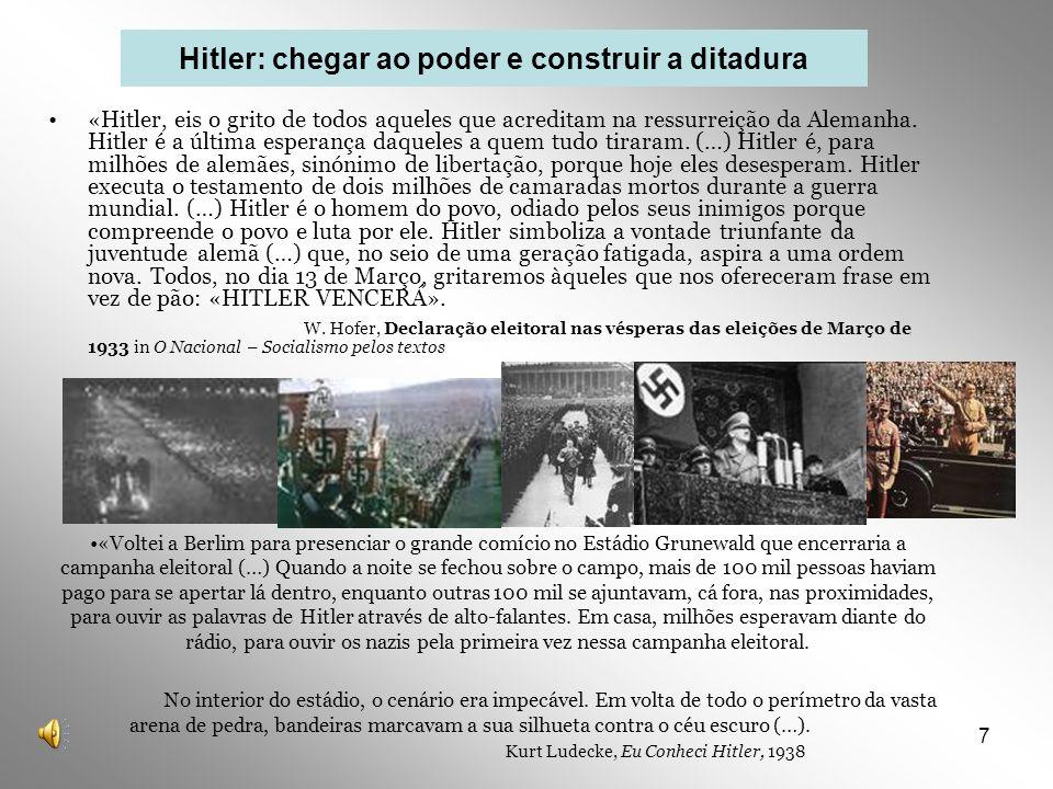 7 «Hitler, eis o grito de todos aqueles que acreditam na ressurreição da Alemanha. Hitler é a última esperança daqueles a quem tudo tiraram. (…) Hitle