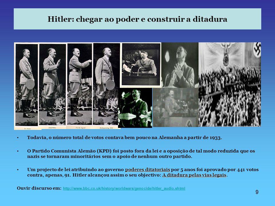 9 Hitler: chegar ao poder e construir a ditadura Todavia, o número total de votos contava bem pouco na Alemanha a partir de 1933. O Partido Comunista