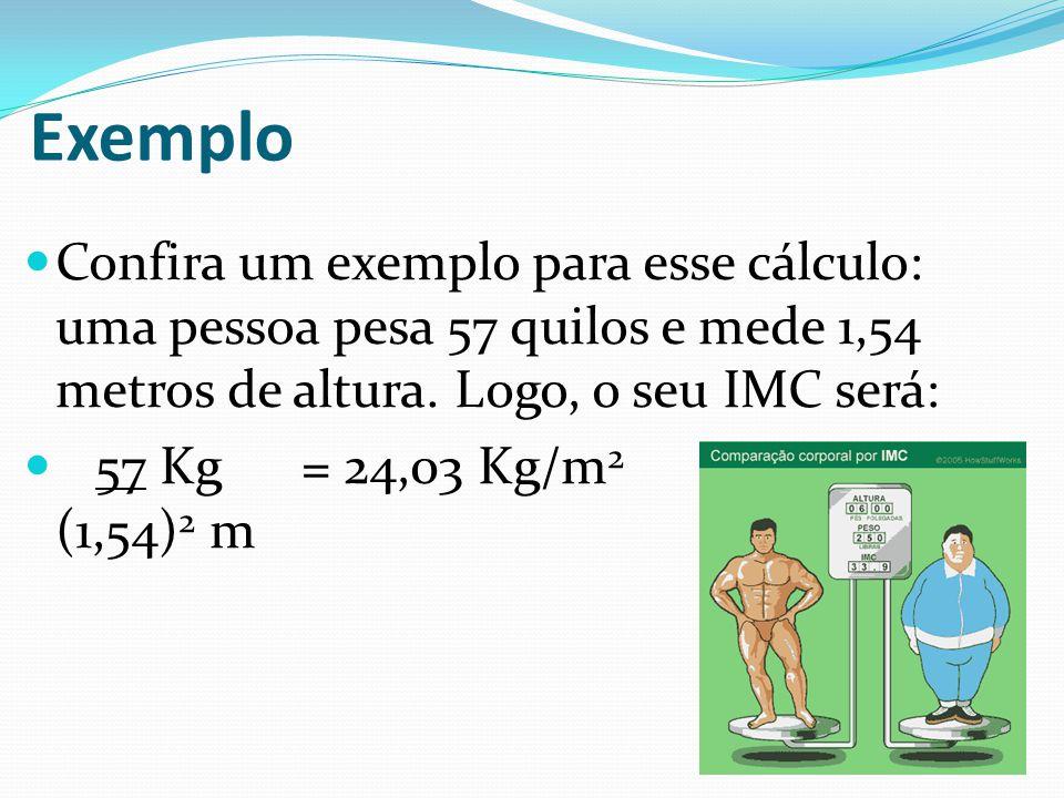 Confira um exemplo para esse cálculo: uma pessoa pesa 57 quilos e mede 1,54 metros de altura.