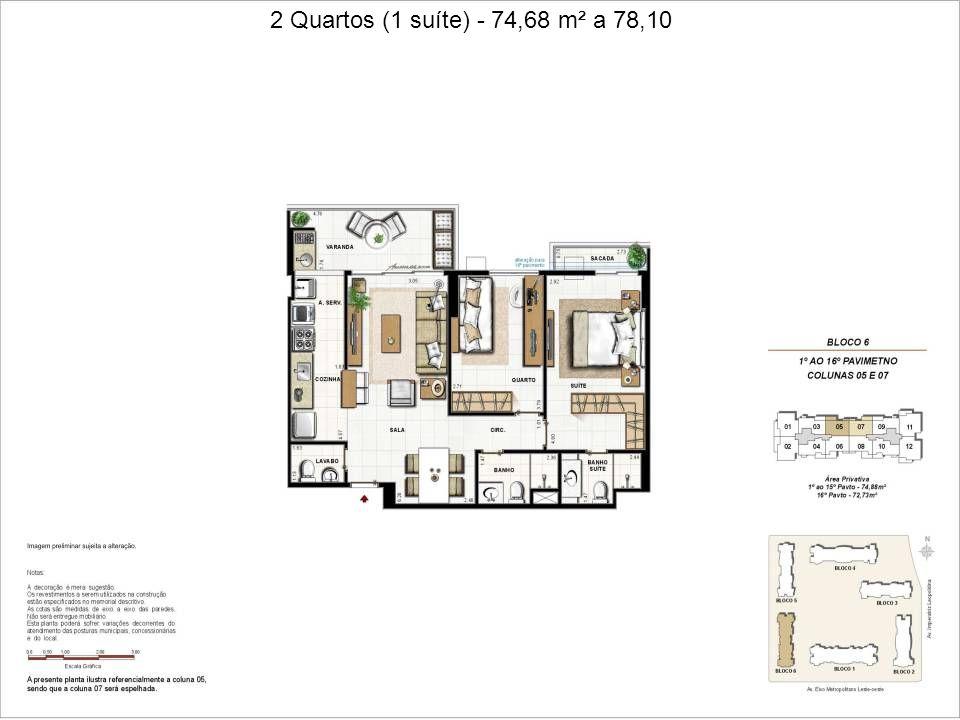 2 Quartos (1 suíte + dependência reversível) - 92,79 a 96,31 m²