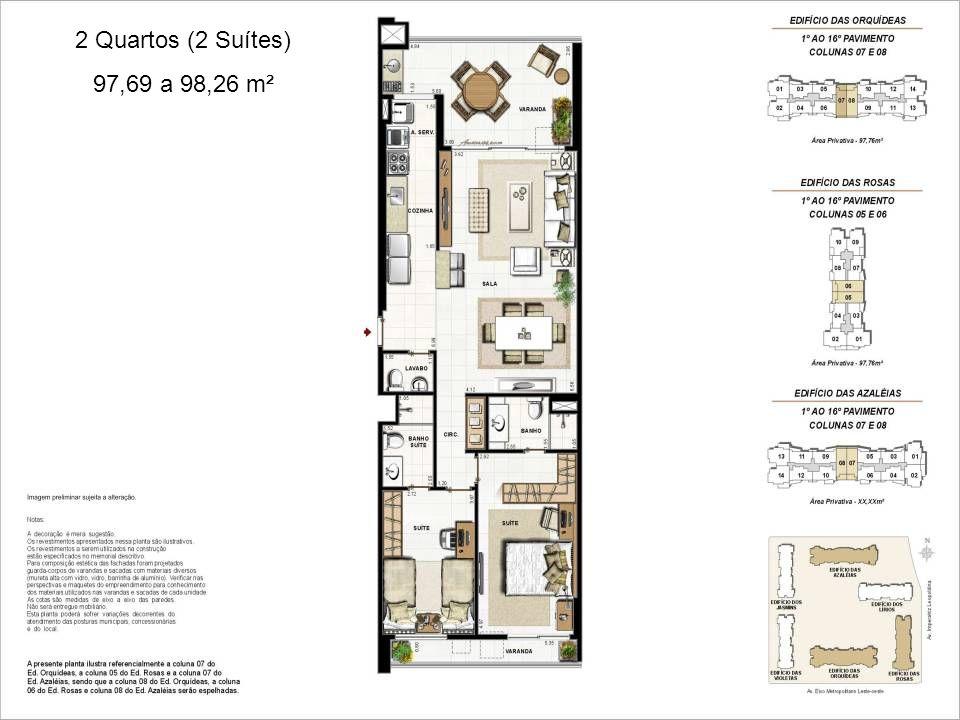 2 Quartos (2 Suítes) 97,69 a 98,26 m²