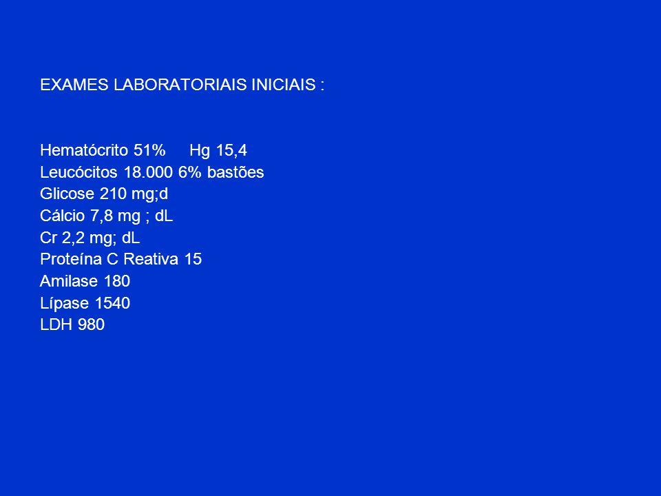 EXAMES LABORATORIAIS INICIAIS : Hematócrito 51% Hg 15,4 Leucócitos 18.000 6% bastões Glicose 210 mg;d Cálcio 7,8 mg ; dL Cr 2,2 mg; dL Proteína C Reat