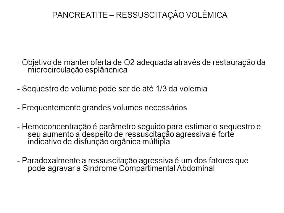PANCREATITE – RESSUSCITAÇÃO VOLÊMICA - Objetivo de manter oferta de O2 adequada através de restauração da microcirculação esplâncnica - Sequestro de v