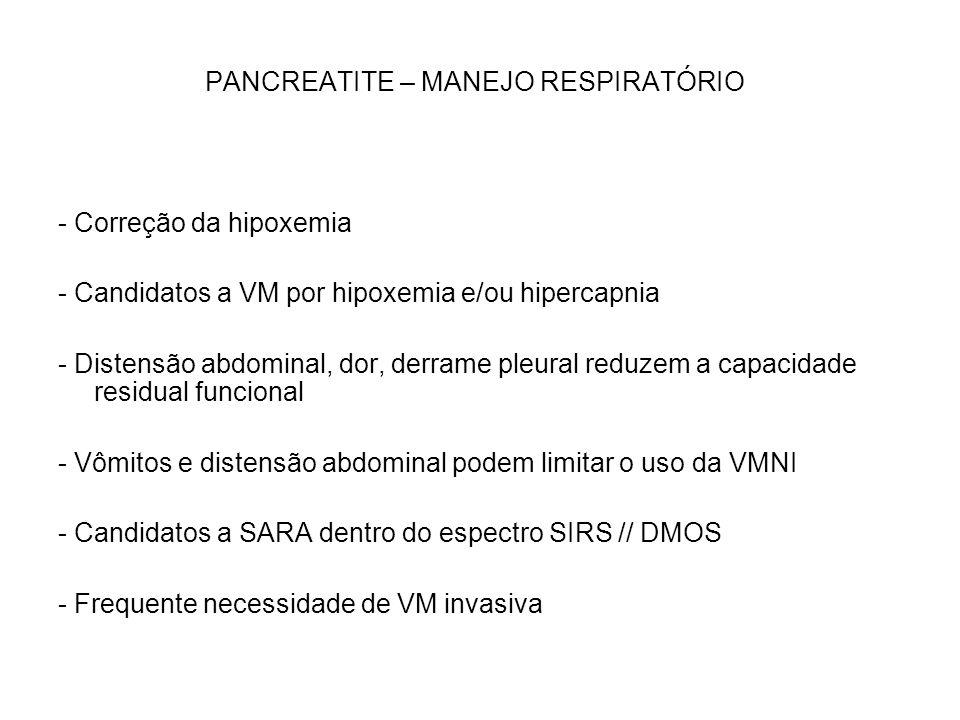 PANCREATITE – MANEJO RESPIRATÓRIO - Correção da hipoxemia - Candidatos a VM por hipoxemia e/ou hipercapnia - Distensão abdominal, dor, derrame pleural