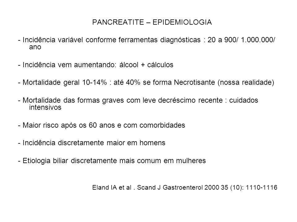 PANCREATITE – EPIDEMIOLOGIA - Incidência variável conforme ferramentas diagnósticas : 20 a 900/ 1.000.000/ ano - Incidência vem aumentando: álcool + c