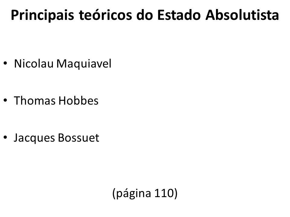 Principais teóricos do Estado Absolutista Nicolau Maquiavel Thomas Hobbes Jacques Bossuet (página 110)