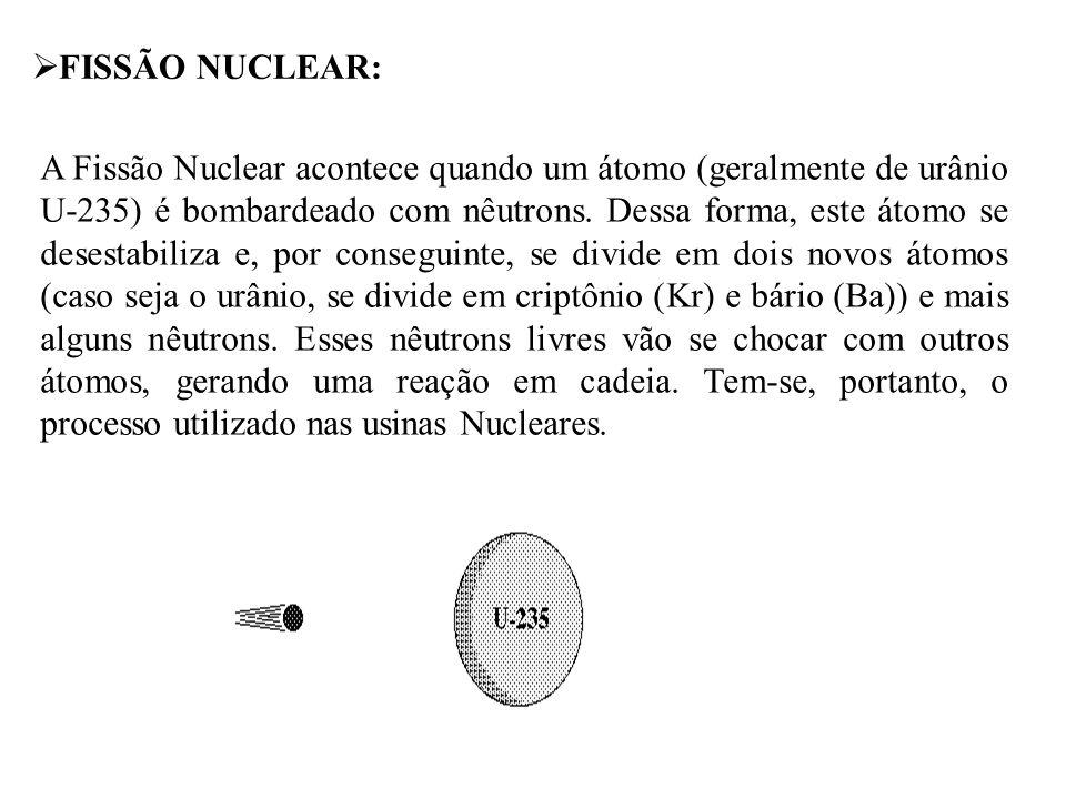  FISSÃO NUCLEAR: A Fissão Nuclear acontece quando um átomo (geralmente de urânio U-235) é bombardeado com nêutrons. Dessa forma, este átomo se desest
