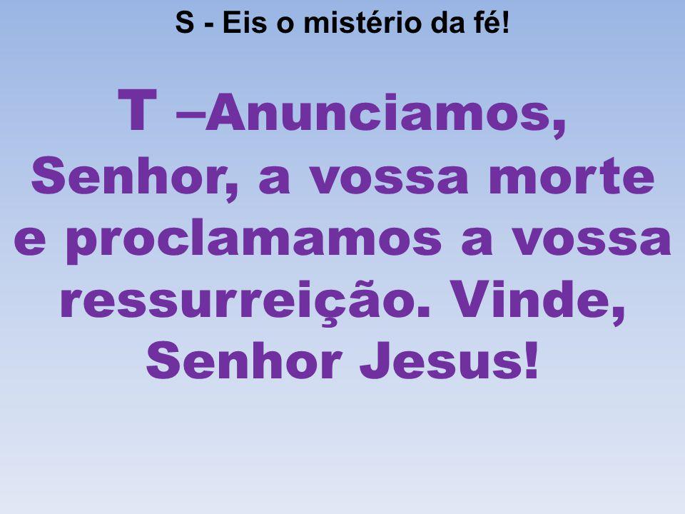 S - Eis o mistério da fé. T – Anunciamos, Senhor, a vossa morte e proclamamos a vossa ressurreição.