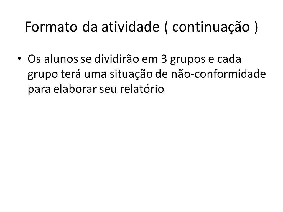 Formato da atividade ( continuação ) Os alunos se dividirão em 3 grupos e cada grupo terá uma situação de não-conformidade para elaborar seu relatório