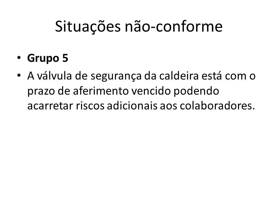 Situações não-conforme Grupo 5 A válvula de segurança da caldeira está com o prazo de aferimento vencido podendo acarretar riscos adicionais aos colaboradores.