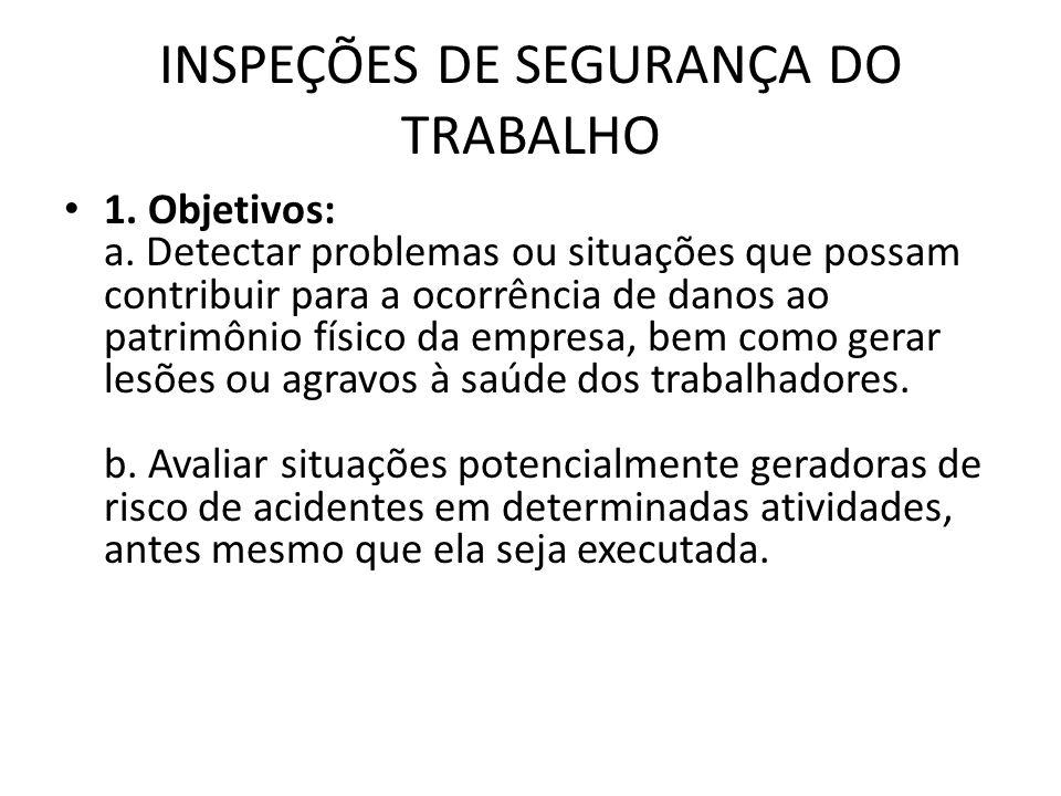 INSPEÇÕES DE SEGURANÇA DO TRABALHO 1. Objetivos: a. Detectar problemas ou situações que possam contribuir para a ocorrência de danos ao patrimônio fís