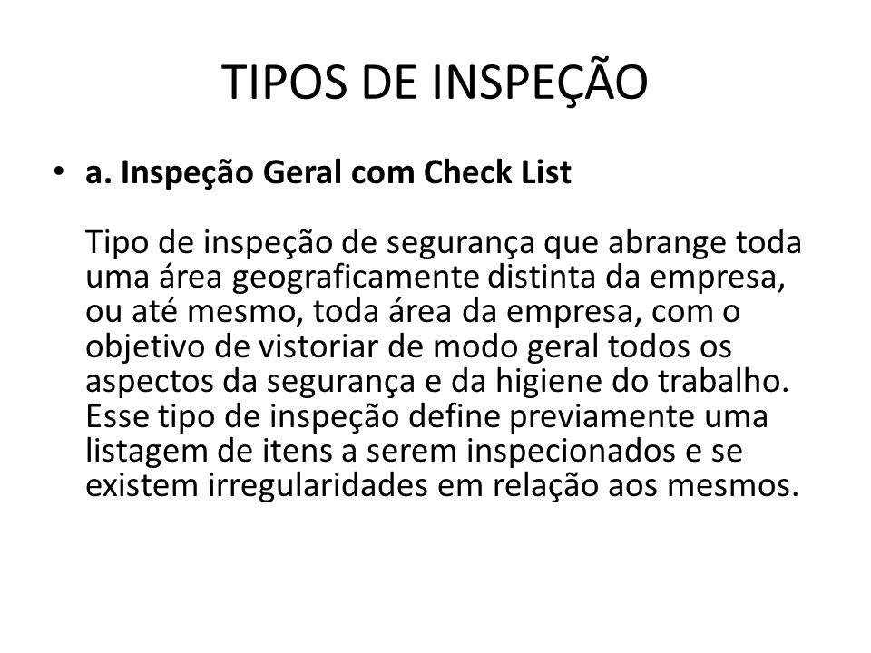 TIPOS DE INSPEÇÃO a. Inspeção Geral com Check List Tipo de inspeção de segurança que abrange toda uma área geograficamente distinta da empresa, ou até