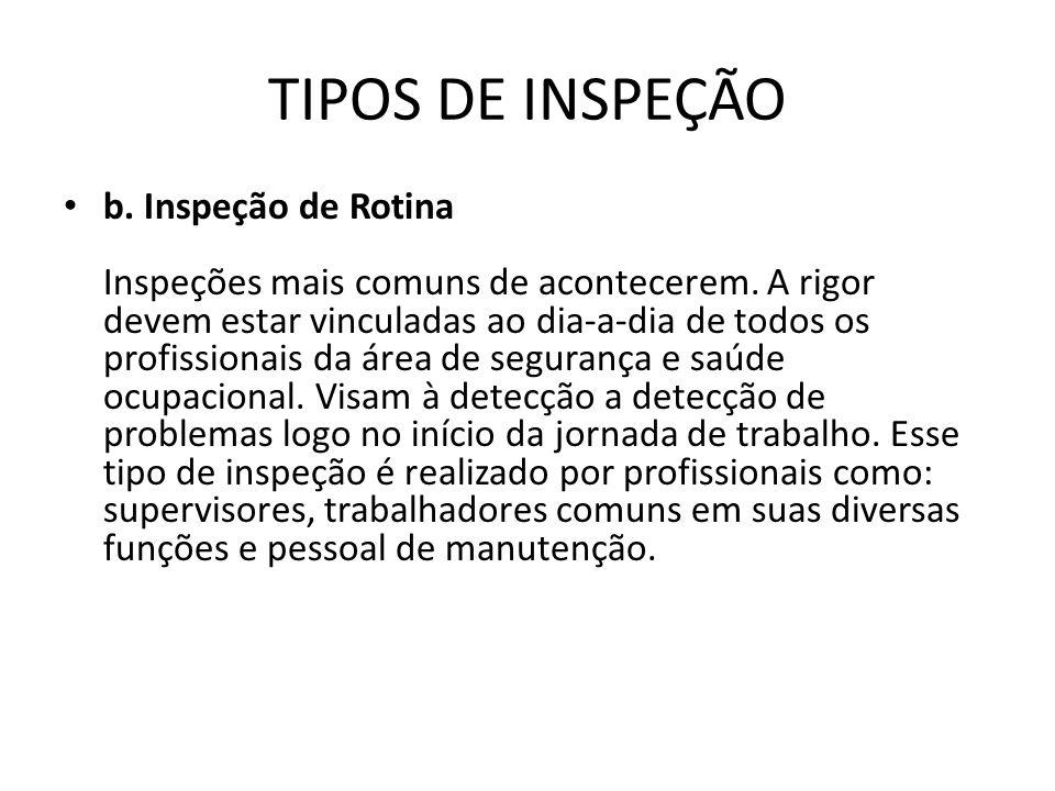 TIPOS DE INSPEÇÃO b. Inspeção de Rotina Inspeções mais comuns de acontecerem. A rigor devem estar vinculadas ao dia-a-dia de todos os profissionais da
