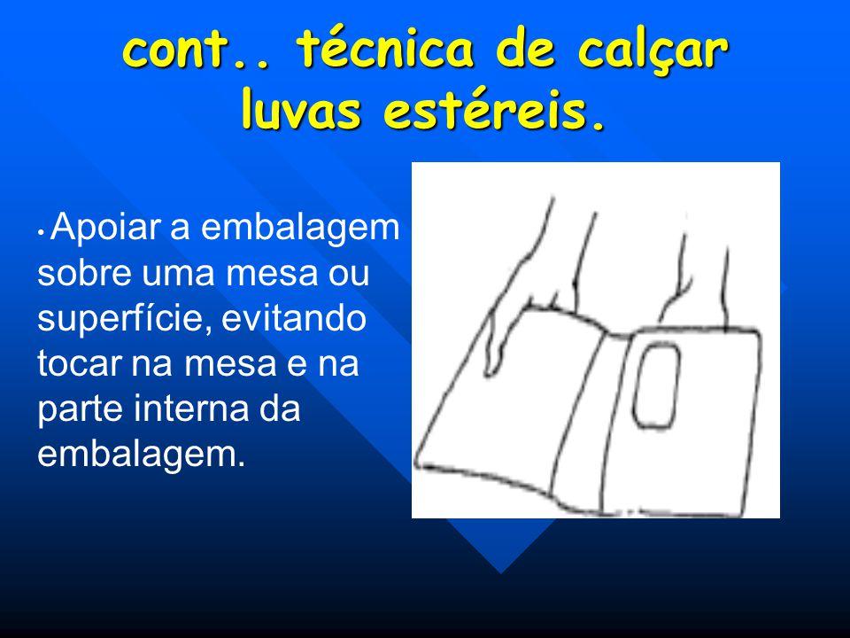 Afastar com uma das mãos a face superior da embalagem, verificando a posição dos punhos, da mão direita e esquerda.