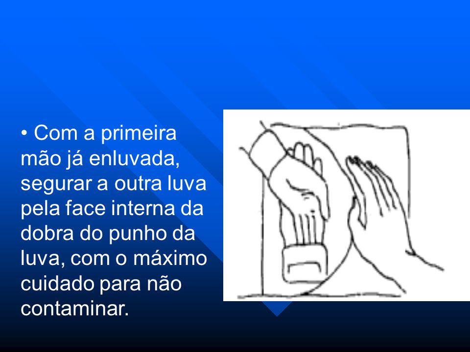 Depois de colocada as luvas nas duas mãos, acertar os punhos e ajustá-las aos dedos se necessário.